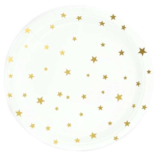 """Talerzyki papierowe """"Złote gwiazdki"""", białę, Partypal, 18 cm, 6 szt"""