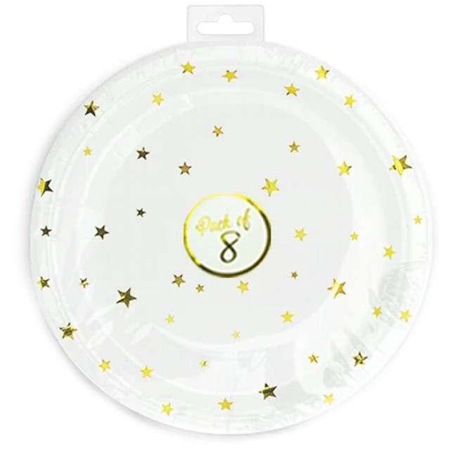 Talerzyki papierowe Złote gwiazdki białę Partypal 18 cm 6 szt