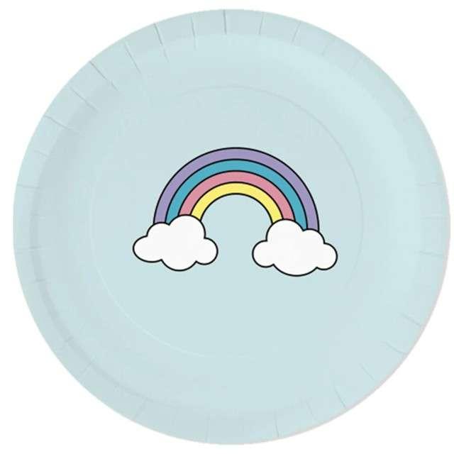 """Talerzyki papierowe """"Tęczowa chmurka"""", błękitne jasne, Partypal, 18 cm, 6 szt"""