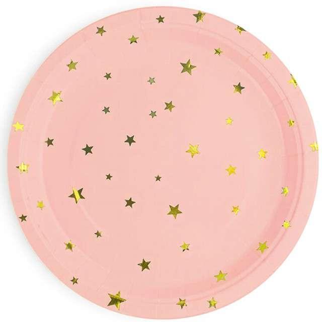 """Talerzyki papierowe """"Złote gwiazdki"""", różowe, Partypal, 18 cm, 6 szt"""