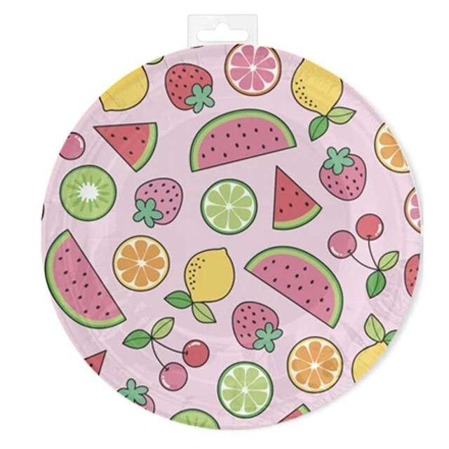 """Talerzyki papierowe """"Summer party"""", różowe, Partypal, 18 cm, 6 szt"""