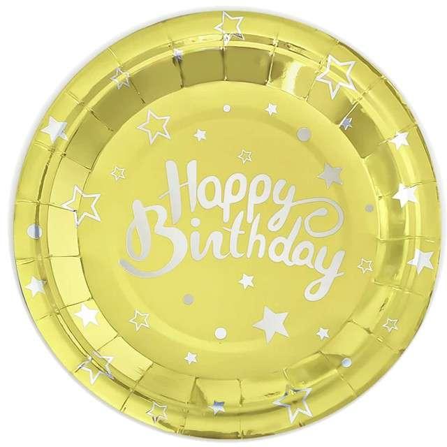 """Talerzyki papierowe """"Happy Birthday"""", złote, Partypal, 18 cm, 6 szt"""