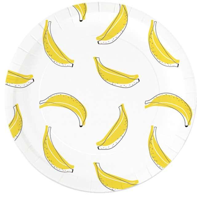 """Talerzyki papierowe """"Banany"""", białe, Partypal, 23 cm, 6 szt"""