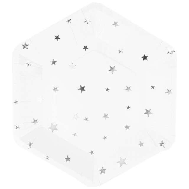 """Talerzyki papierowe """"Srebrne gwiazdki"""", białe, Partypal, 23 cm, 8 szt"""