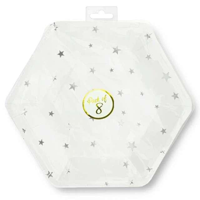 Talerzyki papierowe Srebrne gwiazdki białe Partypal 23 cm 8 szt