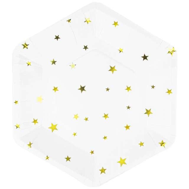 """Talerzyki papierowe """"Złote gwiazdki"""", białe, Partypal, 23 cm, 8 szt"""