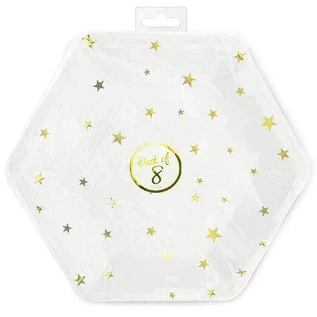 Talerzyki papierowe Złote gwiazdki białe Partypal 23 cm 8 szt