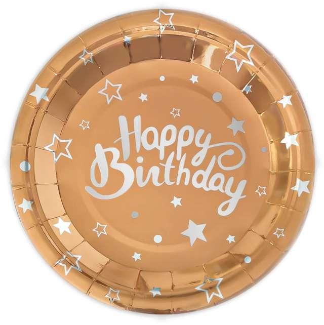"""Talerzyki papierowe """"Happy Birthday"""", różowe złoto, Partypal, 23 cm, 6 szt"""