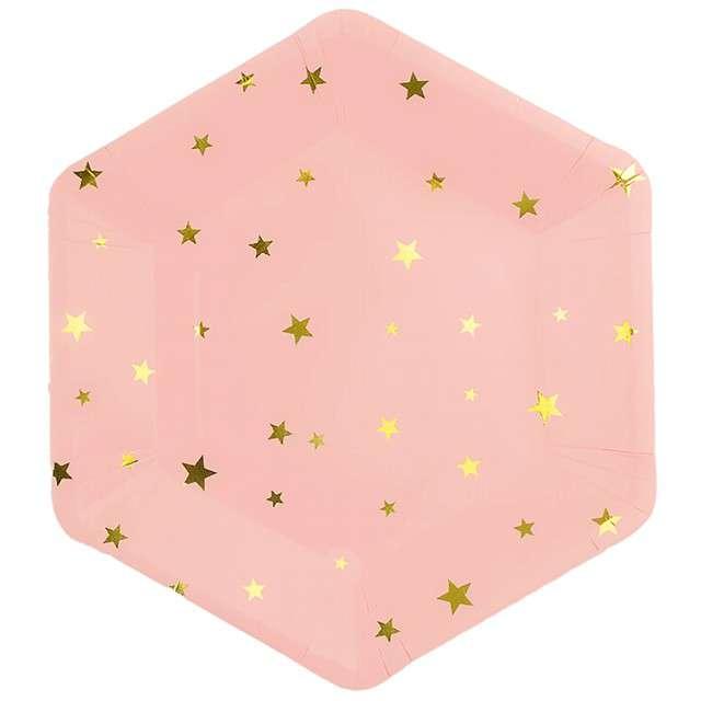 """Talerzyki papierowe """"Złote gwiazdki"""", różowe, Partypal, 23 cm, 8 szt"""