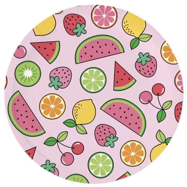 """Talerzyki papierowe """"Summer party"""", różowe, Partypal, 23 cm, 6 szt"""
