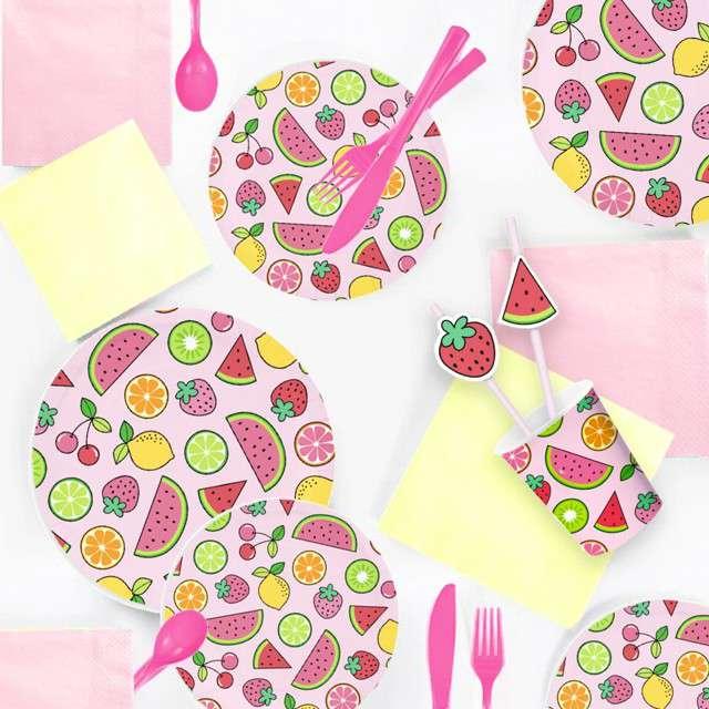 Talerzyki papierowe Summer party różowe Partypal 23 cm 6 szt