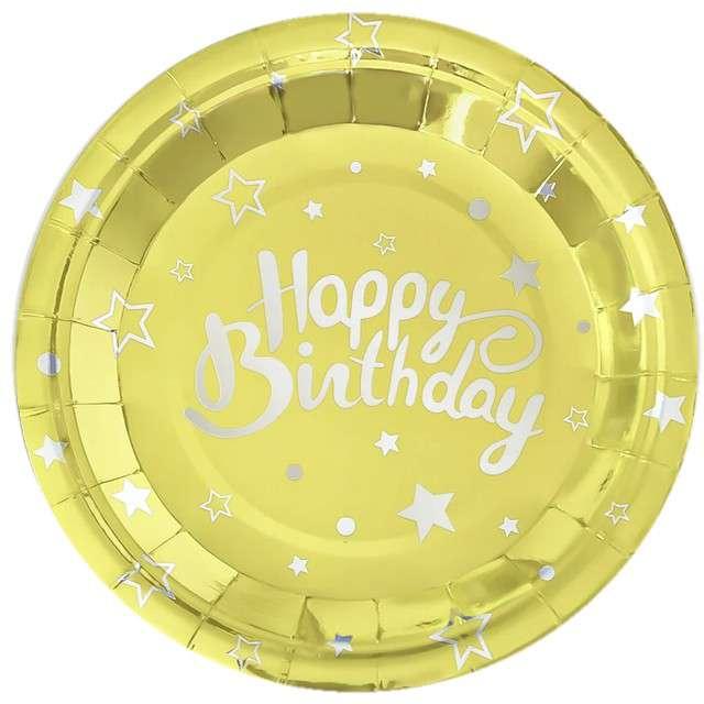 """Talerzyki papierowe """"Happy Birthday"""", złote, Partypal, 23 cm, 6 szt"""