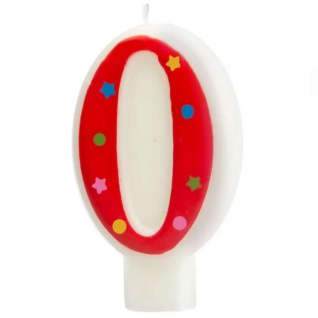 """Świeczka """"Cyfra 0 w gwiazdki"""", Partypal, czerwona, 8 cm"""