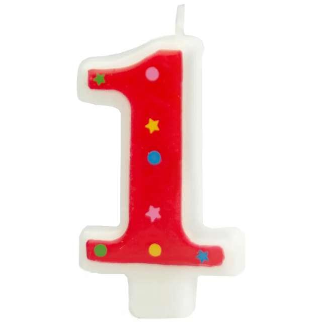 """Świeczka """"Cyfra 1 w gwiazdki"""", Partypal, czerwona, 8 cm"""