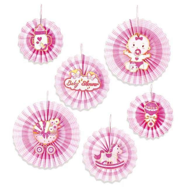 Rozeta wisząca Baby Shower Girl różowa PartyPal 6 szt