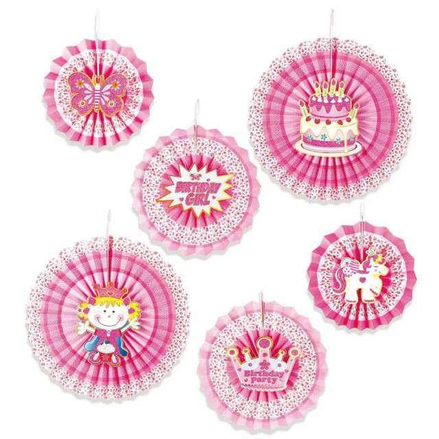 Rozeta wisząca Happy Birthday różowa PartyPal 6 szt