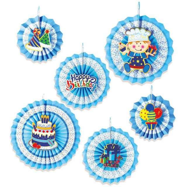 """Rozeta wisząca """"Happy Birthday"""", niebieska, PartyPal, 6 szt"""
