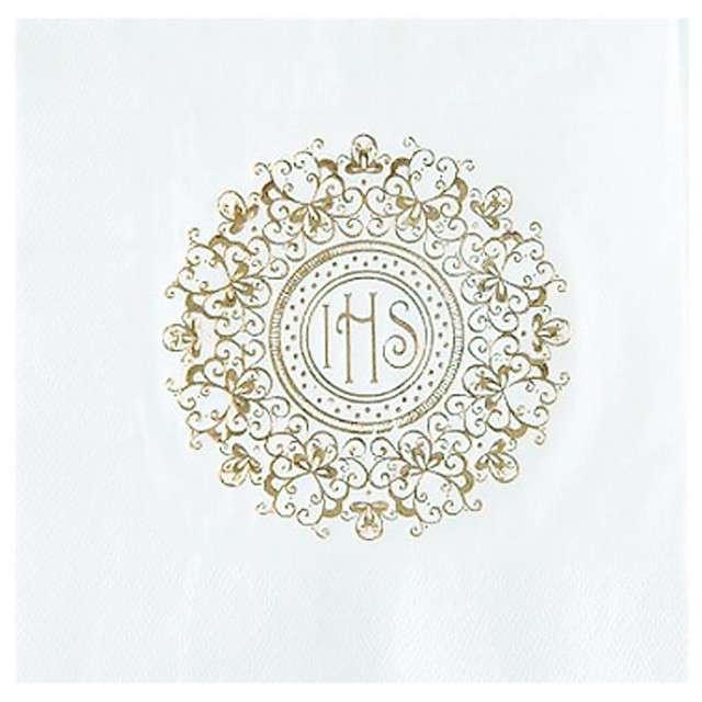 """Serwetki """"Hostia IHS - Złoty ornament"""", Partypal, 33 cm, 20 szt"""