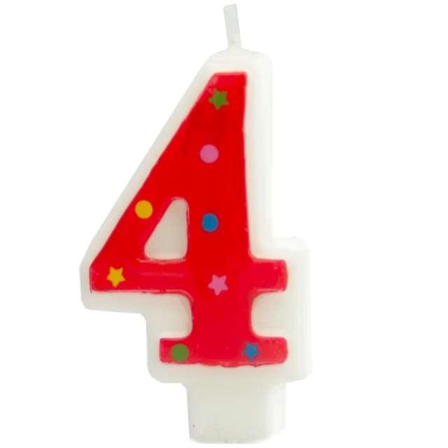 """Świeczka """"Cyfra 4 w gwiazdki"""", Partypal, czerwona, 8 cm"""
