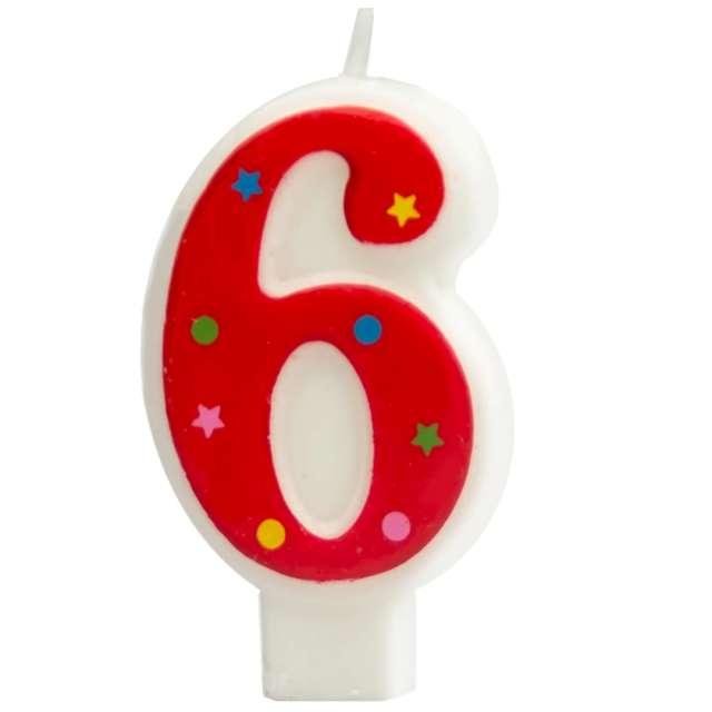 """Świeczka """"Cyfra 6 w gwiazdki"""", Partypal, czerwona, 8 cm"""