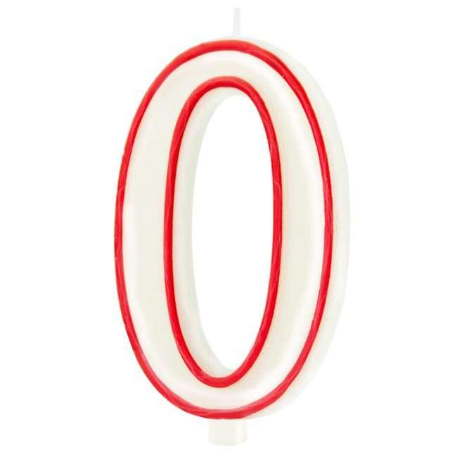 """Świeczka """"Cyfra 0"""", Partypal, biało-czerwona, 13 cm"""