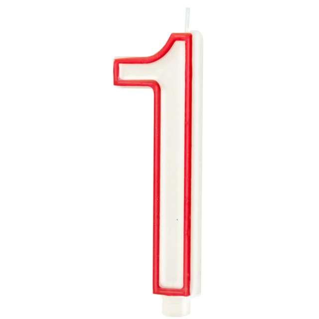 """Świeczka """"Cyfra 1"""", Partypal, biało-czerwona, 13 cm"""