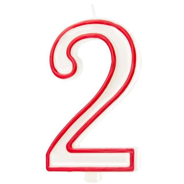 """Świeczka """"Cyfra 2"""", Partypal, biało-czerwona, 13 cm"""