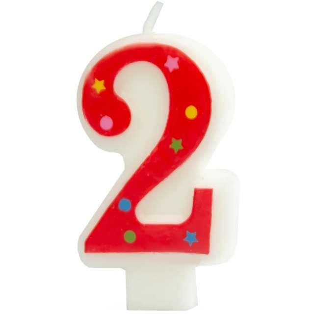 """Świeczka """"Cyfra 2 w gwiazdki"""", Partypal, czerwona, 8 cm"""