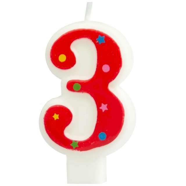 """Świeczka """"Cyfra 3 w gwiazdki"""", Partypal, czerwona, 8 cm"""