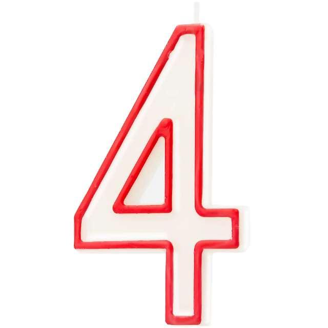 """Świeczka """"Cyfra 4"""", Partypal, biało-czerwona, 13 cm"""