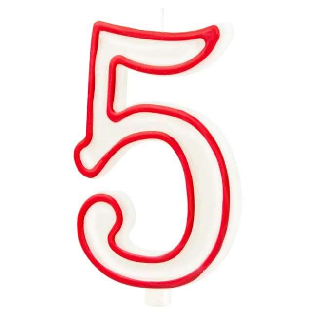 """Świeczka """"Cyfra 5"""", Partypal, biało-czerwona, 13 cm"""