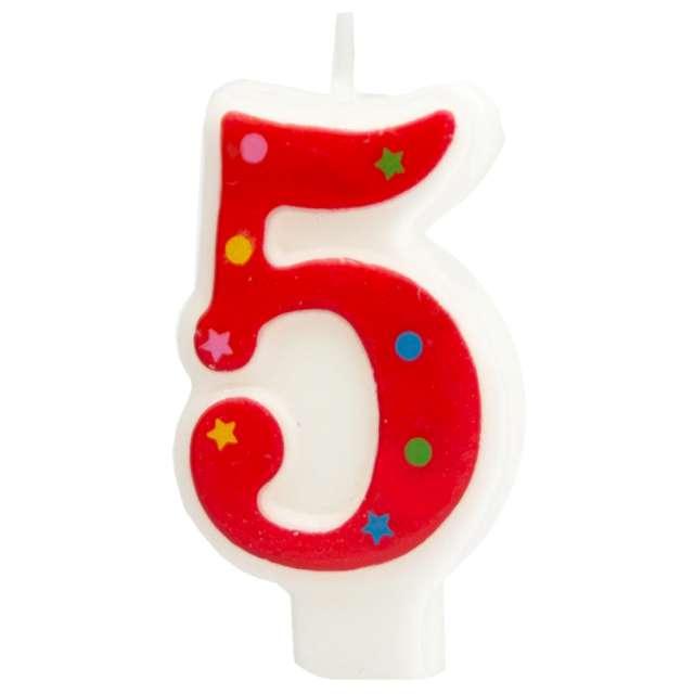 """Świeczka """"Cyfra 5 w gwiazdki"""", Partypal, czerwona, 8 cm"""