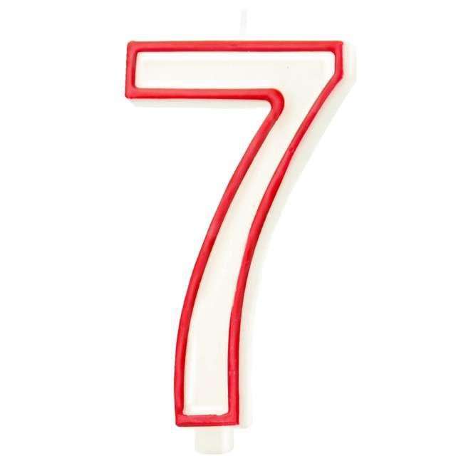 """Świeczka """"Cyfra 7"""", Partypal, biało-czerwona, 13 cm"""