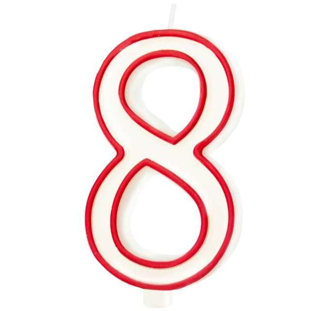 """Świeczka """"Cyfra 8"""", Partypal, biało-czerwona, 13 cm"""