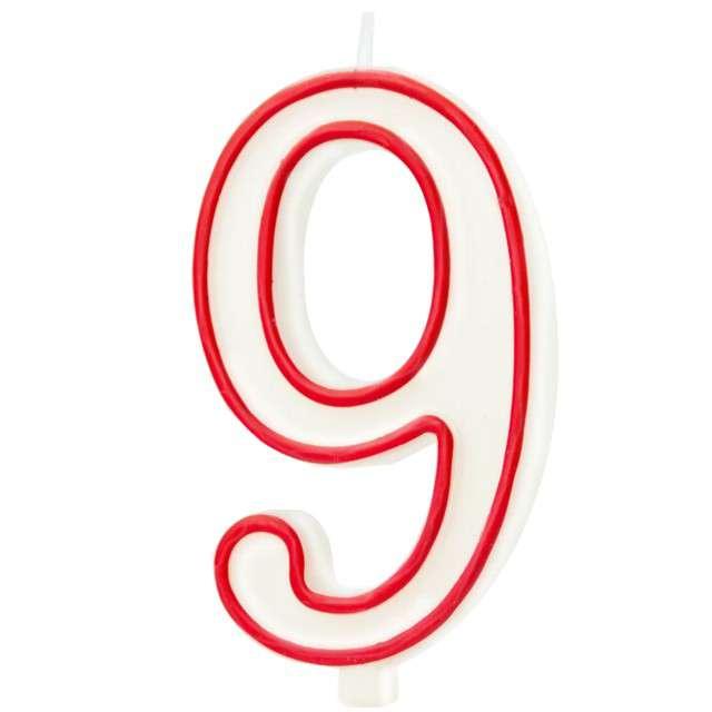 """Świeczka """"Cyfra 9"""", Partypal, biało-czerwona, 13 cm"""