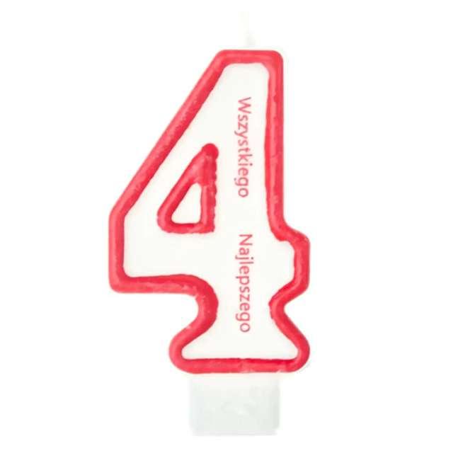 """Świeczka """"Cyfra 4 - Wszystkiego Najlepszego"""", Partypal, czerwona, 8 cm"""