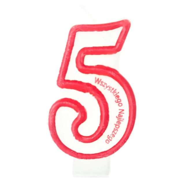 """Świeczka """"Cyfra 5 - Wszystkiego Najlepszego"""", Partypal, czerwona, 8 cm"""