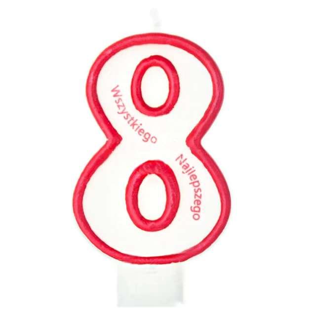 """Świeczka """"Cyfra 8 - Wszystkiego Najlepszego"""", Partypal, czerwona, 8 cm"""