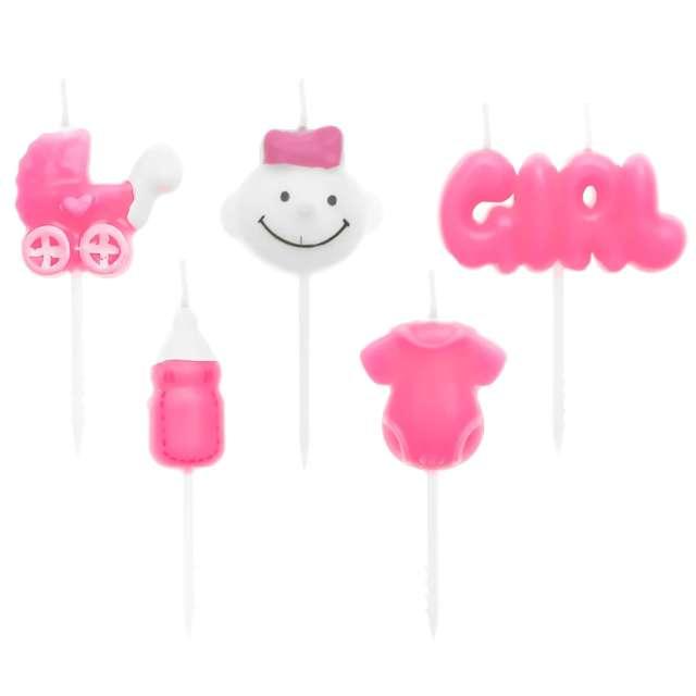 """Świeczki na tort """"Pikery Baby Shower Girl"""", różowe, Partypal, 5 szt"""