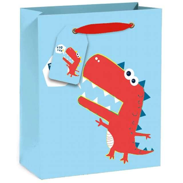 """Torebka prezentowa """"Wesoły dinozaur"""", niebieska, Partypal, 32 x 26 cm"""