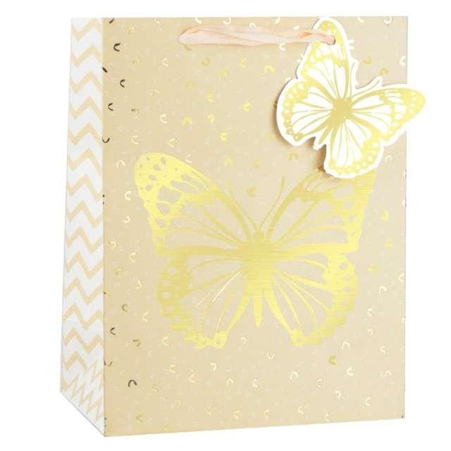 """Torebka prezentowa """"Złoty Motyl"""", naturalny, Partypal, 23 x 18 cm"""