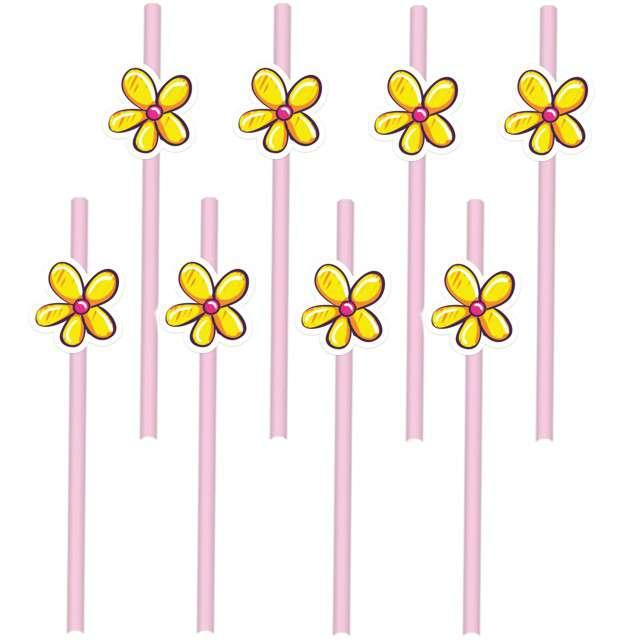 """Słomki """"Kwiatki"""", różowe, PartyPal, 20 cm, 8 szt"""