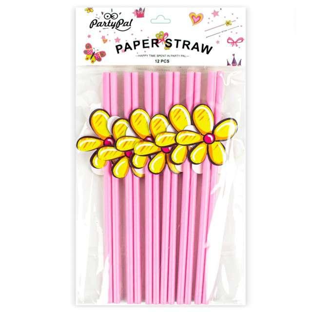Słomki Kwiatki różowe PartyPal 20 cm 8 szt