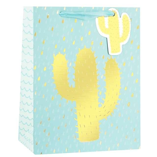 """Torebka prezentowa """"Złoty Kaktus"""", błękitna, Partypal, 32 x 26 cm"""