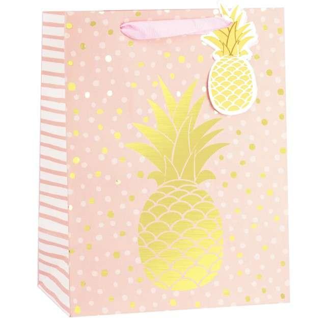 """Torebka prezentowa """"Złoty Ananas"""", różowa, Partypal, 32 x 26 cm"""
