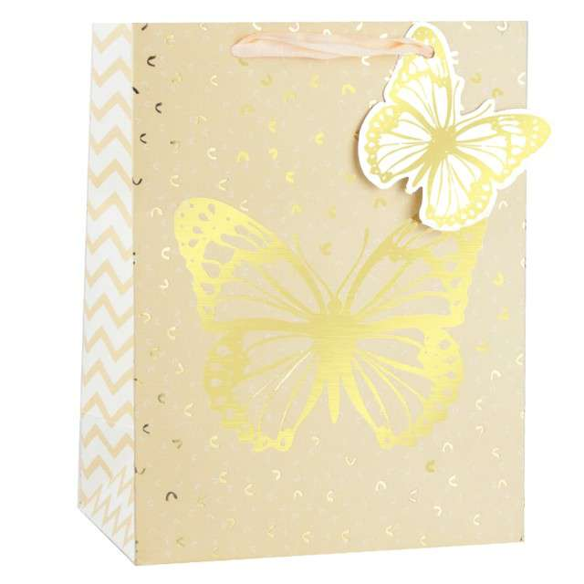 """Torebka prezentowa """"Złoty Motyl"""", naturalny, Partypal, 32 x 26 cm"""