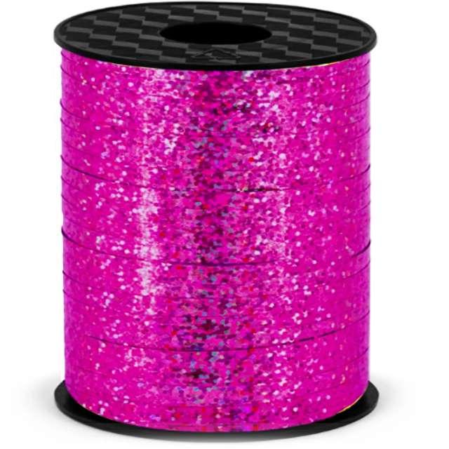 """Wstążka do balonów """"Holograficzna"""", różowa ciemna, PartyPal, 5 mm x 250 m"""