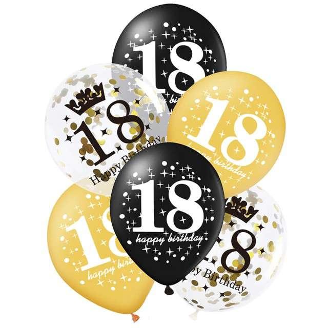 """Balony """"18 Urodziny"""", czarno-złote, Partypal, 12"""", 6 szt"""