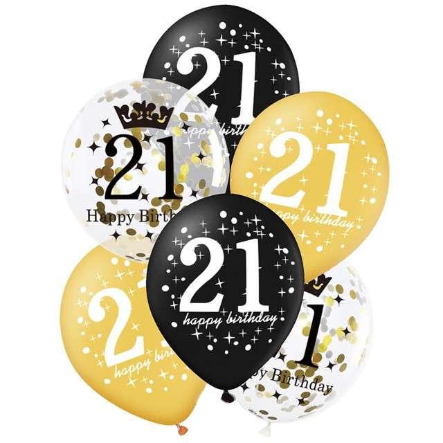 """Balony """"21 Urodziny"""", czarno-złote, Partypal, 12"""", 6 szt"""