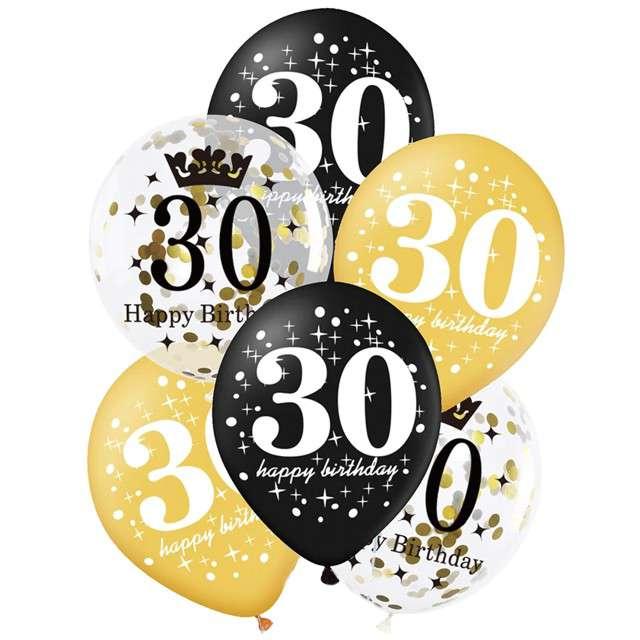 """Balony """"30 Urodziny"""", czarno-złote, Partypal, 12"""", 6 szt"""